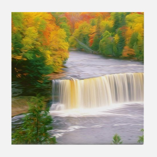 Autumn creek woods with yellow trees  Tile Coaster