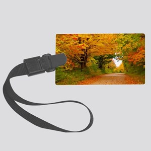 Autumn landscape of trees  in ru Large Luggage Tag
