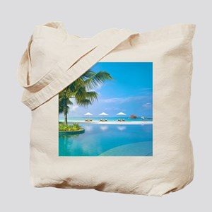 Beach chairs with umbrellas with sunshine Tote Bag