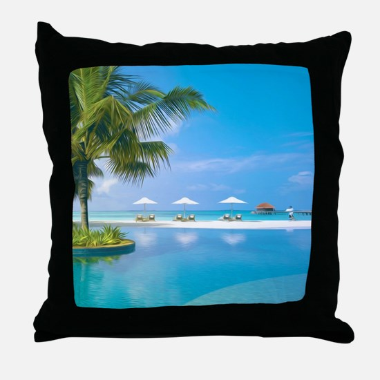 Beach chairs with umbrellas with suns Throw Pillow