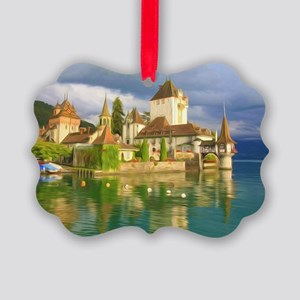 Beautiful castle Oberhofen on the Picture Ornament