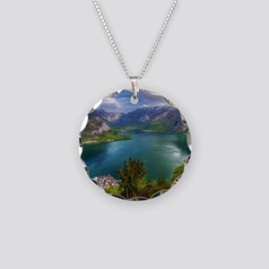 Beautiful lake view Necklace Circle Charm