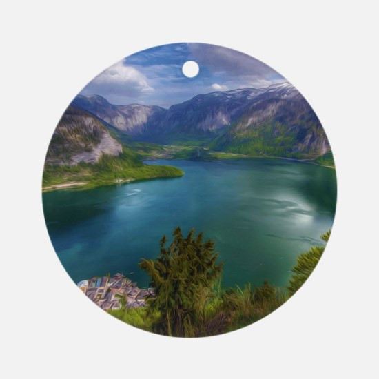 Beautiful lake view Round Ornament