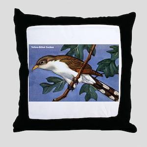 Yellow-Billed Cuckoo Bird Throw Pillow