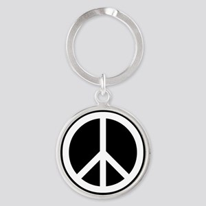 White Peace Sign Round Keychain