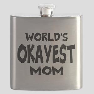 Worlds Okayest Mom Flask