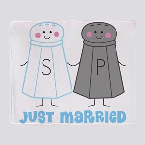 Just Married Salt Pepper Throw Blanket