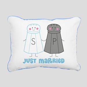 Just Married Salt Pepper Rectangular Canvas Pillow