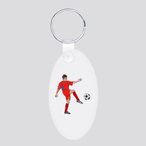 Soccer Player No Txt Aluminum Oval Keychain