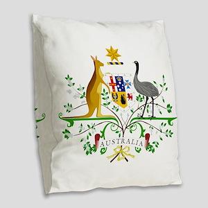 Australian Emblem Burlap Throw Pillow