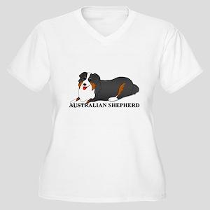 Australian Shepherd Dog Women's Plus Size V-Neck T