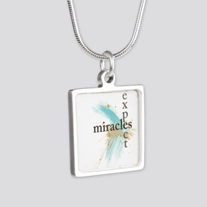 Expect Miracles Silver Square Necklace