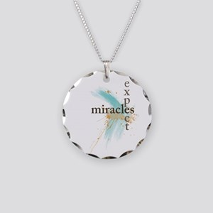 Expect Miracles Necklace Circle Charm