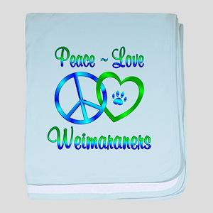 Peace Love Weimaraners baby blanket
