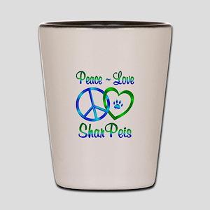 Peace Love Shar Peis Shot Glass