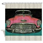 Vintage Pink Buick Car Shower Curtain