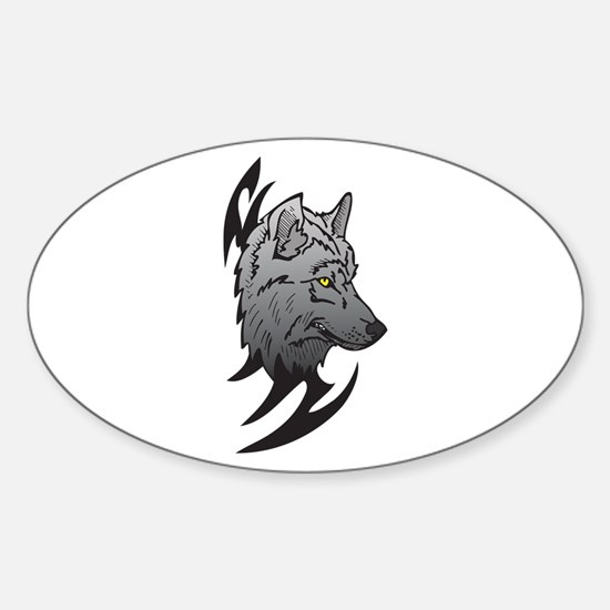 Tribal Wolf Head Design Oval Decal