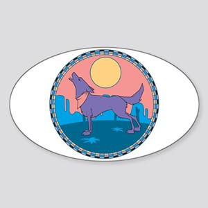 Colorful Howling Coyote Design Oval Sticker