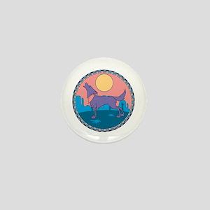 Colorful Howling Coyote Design Mini Button