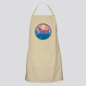 Colorful Howling Coyote Design BBQ Apron