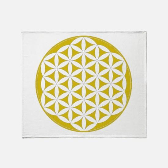 Flower of Life Gold Throw Blanket