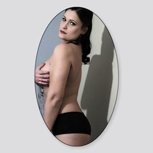 Sexy Topless Woman Sticker (Oval)