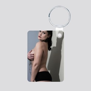 Sexy Topless Woman Aluminum Photo Keychain