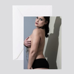 Sexy Topless Woman Greeting Card