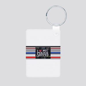 I Love My Police Officer Aluminum Photo Keychain