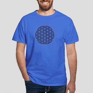 Flower of Life Blue Silver Dark T-Shirt