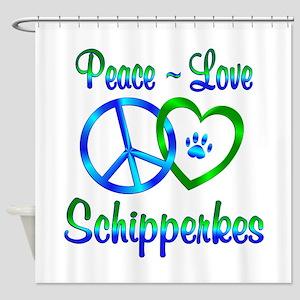 Peace Love Schipperkes Shower Curtain
