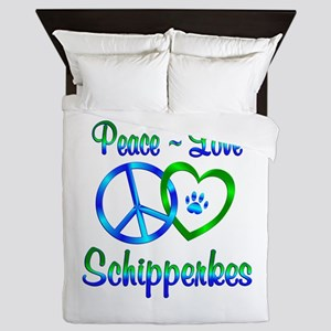 Peace Love Schipperkes Queen Duvet