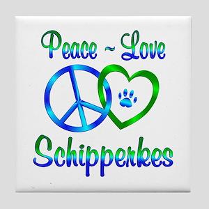 Peace Love Schipperkes Tile Coaster