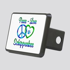 Peace Love Schipperkes Rectangular Hitch Cover