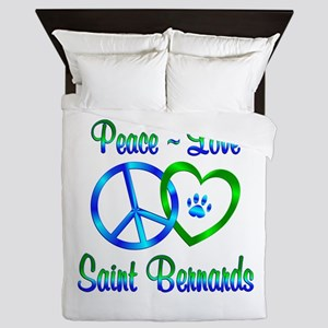 Peace Love Saint Bernards Queen Duvet