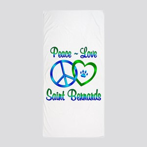 Peace Love Saint Bernards Beach Towel