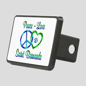 Peace Love Saint Bernards Rectangular Hitch Cover