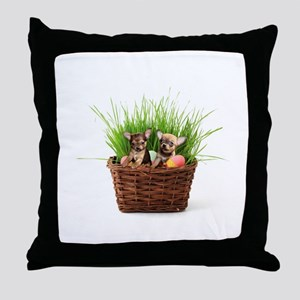 Easter Chihuahua puppies Throw Pillow