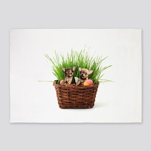 Easter Chihuahua puppies 5'x7'Area Rug