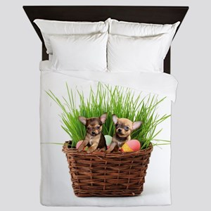 Easter Chihuahua puppies Queen Duvet
