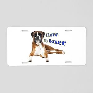 I Love My Boxer Frnt Alumin Aluminum License Plate