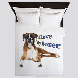 I Love My Boxer Frnt Queen Duvet