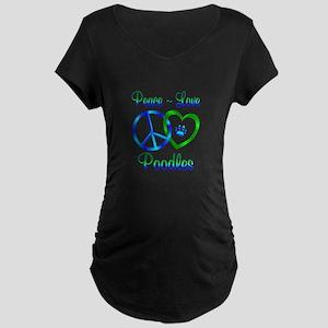 Peace Love Poodles Maternity Dark T-Shirt