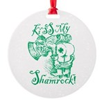 St. Patricks Day Leprechaun Kiss My Round Ornament