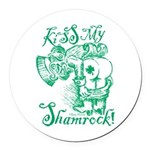 St. Patricks Day Leprechaun Kiss Round Car Magnet