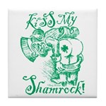 St. Patricks Day Leprechaun Kiss My Tile Coaster