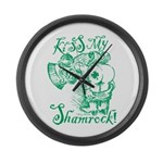 St. Patricks Day Leprechaun Kiss Large Wall Clock