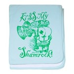 St. Patricks Day Leprechaun Kiss My baby blanket