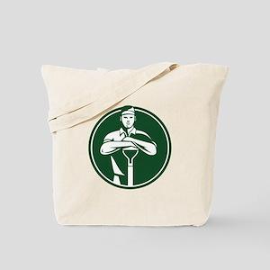 Gardener Landscaper Shovel Front Retro Tote Bag