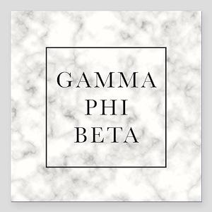 """Gamma Phi Beta Marble Square Car Magnet 3"""" x 3"""""""